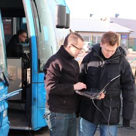 A first glance at the data from a bus in the ReDi2Service project
