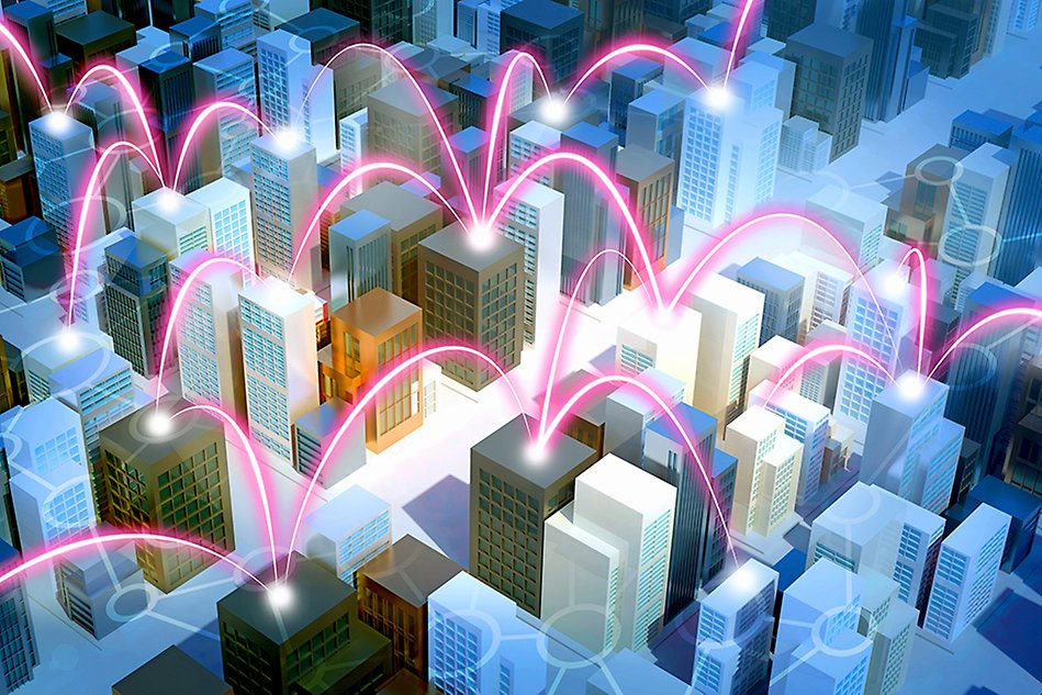 Virtual city with buildings connected by light beams. Illustration.