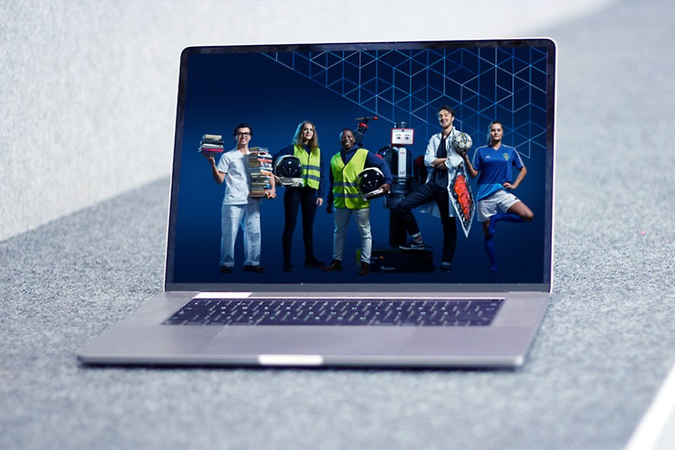 A photo of laptop showing a screen with five students in various outfits related to their studies. The photo is a montage.
